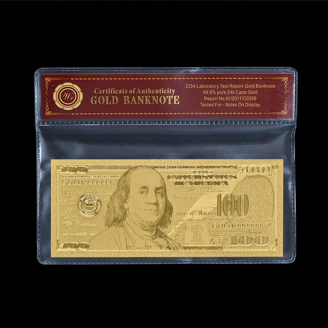 100 Dollar Gold Banknote New Bills One Hundred American Plated Paper Money With Pvc