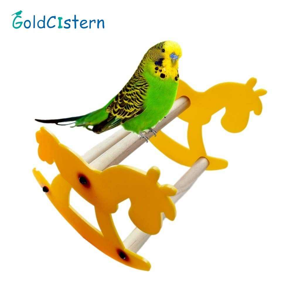 Funny Parrot bird chew toy Small Wooden Horse Rocking Chair Seesaw Bird stand Toys Dropshipping