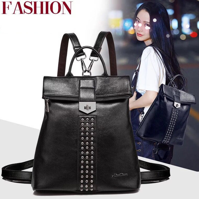 New Fashion design ladies backpack high quality teens high quality PU leather backpacks for teens girls women's school backpack new designer women backpack for teens girls preppy style school bag genuine leather backpack ladies high quality black rucksack