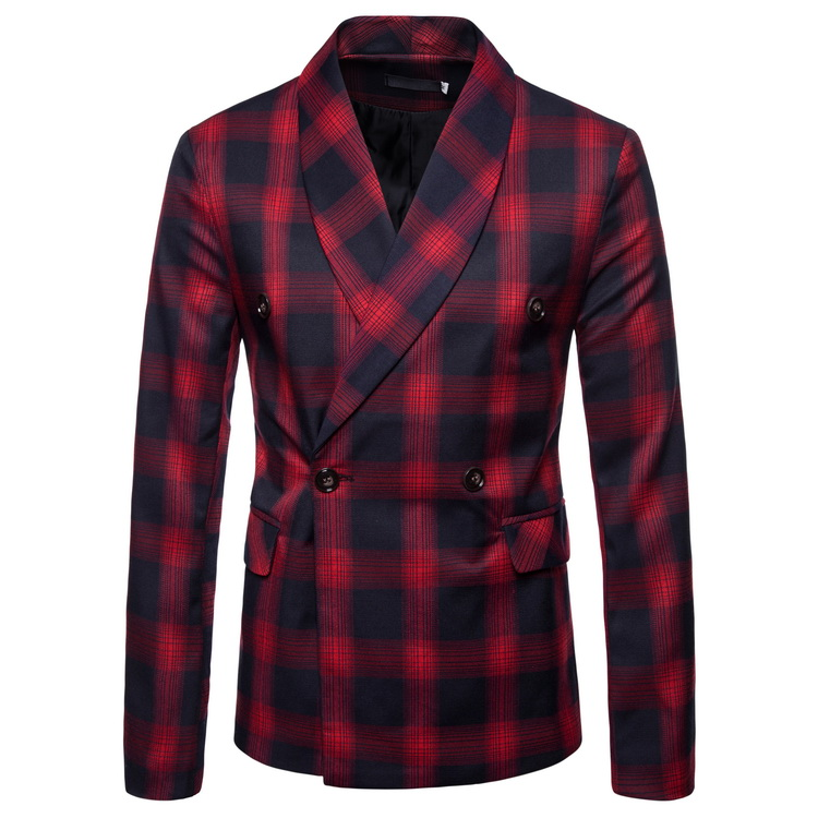 Mens Long Sleeve Fashion Dance Brand Blazer Wedding Stage Grid Pattern Business Affairs Suit Jackets Dropshipping Slim Top Coats