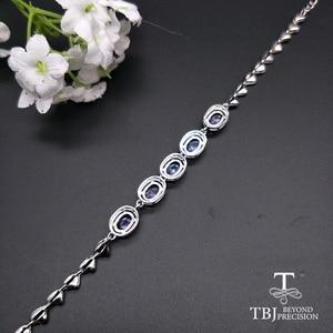 Image 2 - Женский браслет с голубым цирконием TBJ, браслет из серебра 925 пробы, 4 карат, ювелирное изделие в подарок