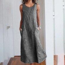 Sundress Women Summer Dress 2019 Boho Sexy Midi Plus Size Casual Linen Loose Sleeveless Stripe Pocket Long Maxi 4.25