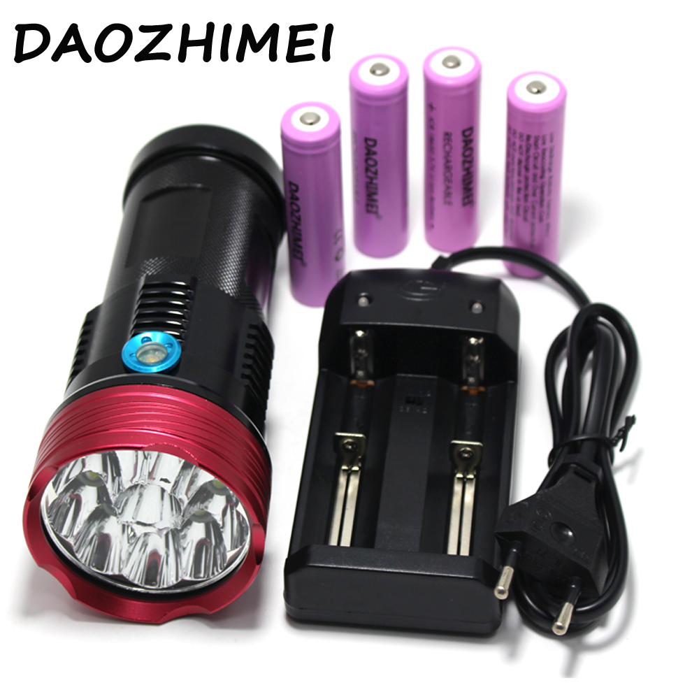 high power flashlight 20000 lumens King 10T6 LED flashlamp 10x  XM-L T6 LED Flashlight Torch +4*18650 battery + Chargerhigh power flashlight 20000 lumens King 10T6 LED flashlamp 10x  XM-L T6 LED Flashlight Torch +4*18650 battery + Charger