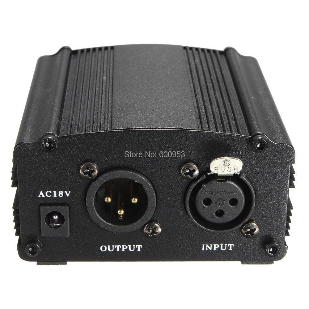 Pro 48 V Alimentação Fantasma Para Condensador Gravação Do Microfone XLR 3Pin entrada e saída