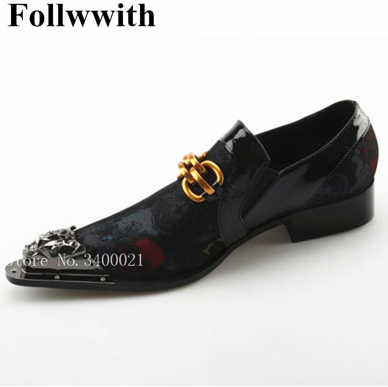 2018 New Metal Pointed Toe Slip On Men Loafers Gold Chains Decor Low Squre Heel Dress Business Casual Shoes Flats Sapatos