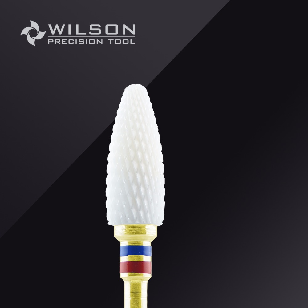 Left Handed Person Used-Bullet Shape-Fine-White Ceramic(6405601)-WILSON Ceramic Nail Drill Bit & Zirconia Ceramic Dental Burs king double krn a5t 5 zirconia ceramic utility knife w sheath red white