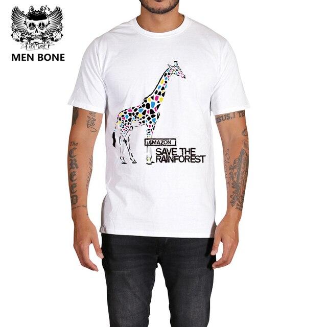 f72ee3d8c 2017 Dos Homens do Verão Camisas Casual T colorido Girafa Imprimir Famosa Marca  Homem Roupas de