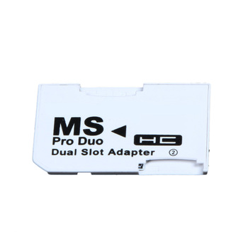 Dual Slot Memory Card Adapter 2 Micro SD HC Cards Converter Micro SD TF to Memory Stick MS Pro Duo for PSP Card White Games Case 1