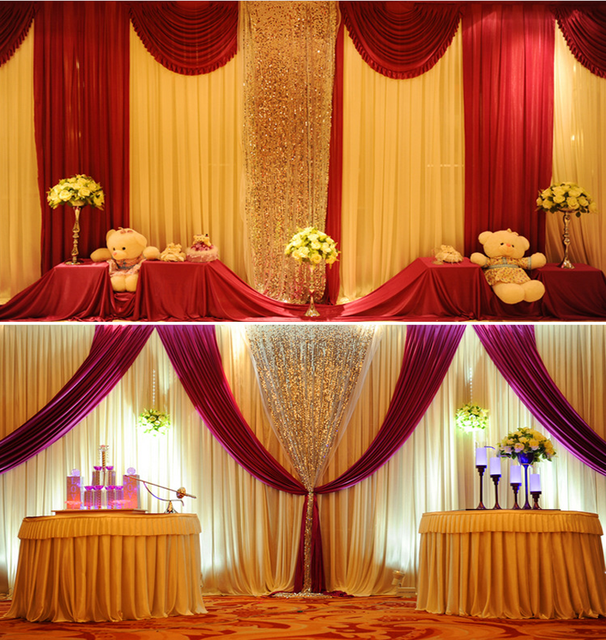 15colors Ice Silk Romantic Wedding Background Decoration Pink Stage Curtain The Wedding Party Gauze Curtain Supplies 10mlot