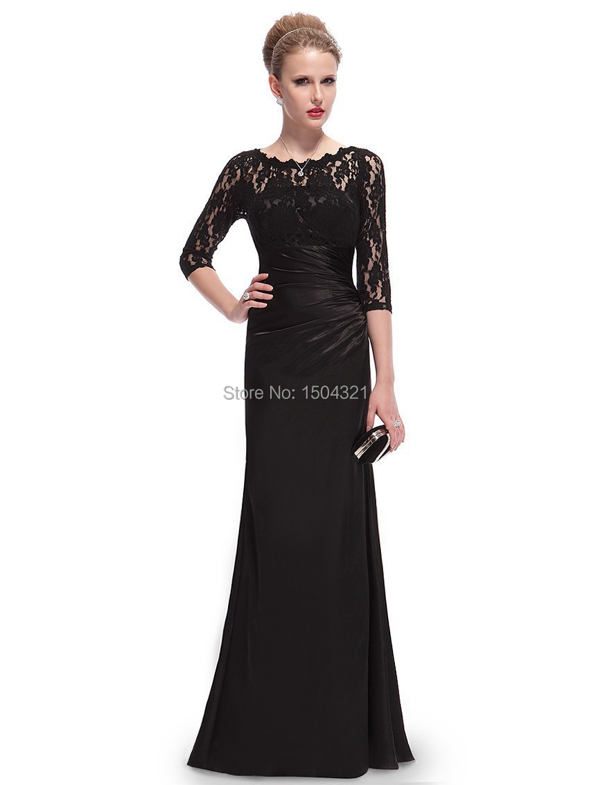Black dress quarter sleeve - Vestidos De Fiesta 2015 New Women Elegant Boat Neck Three Quarter Sleeves Appliques Long Floor Length Black Formal Evening Dress