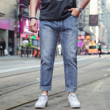 Plus-size Spring Autumn Men Stretch Blue Denim Trousers Scratched Ripped Bur Leg Loose Man Stretch Quality Comfortable Jeans