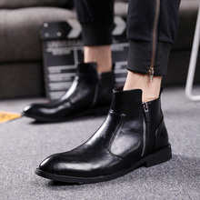 British style men fashion party nightclub dress genuine leather shoes pointed toe oxford shoe spring autumn chelsea ankle boots