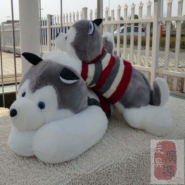 Husky furry toy huge dogs lying lovely dog toys with clothes birthday gift about 85cm