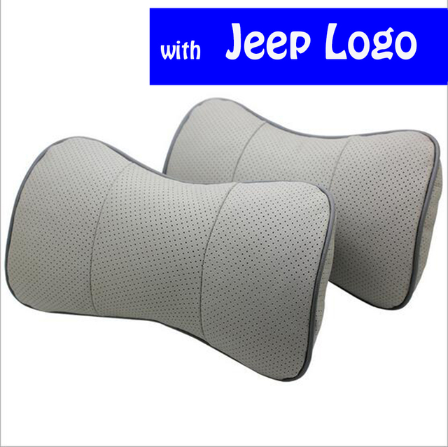 2X Genuine Leather Car Pillow Neck Rest Headrest Pillow Seat Cushion With Car Logo for Jeep Grand Cherokee Wrangler Compass 300C