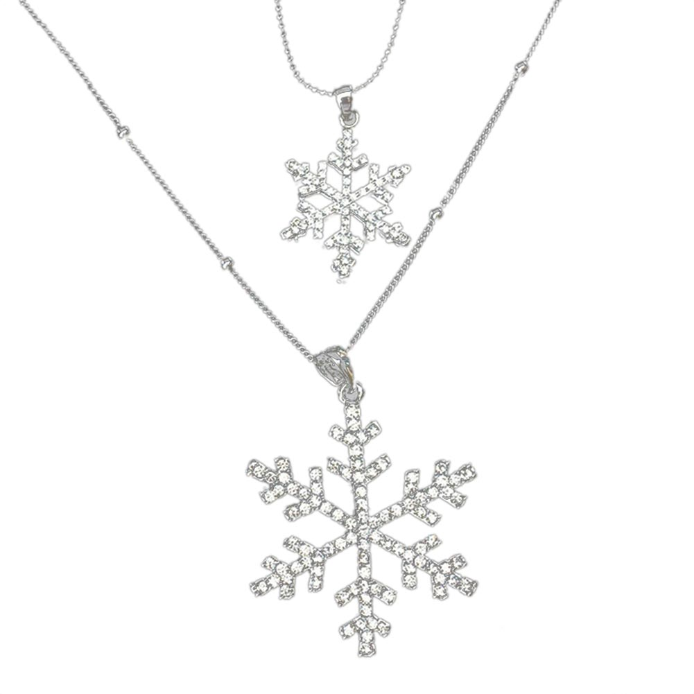 2 Layers Alloy Rhinestone Snowflake Shaped Pendant Necklace Sweater Chain Ladies Girls Necklaces Christmas Gifts M8694