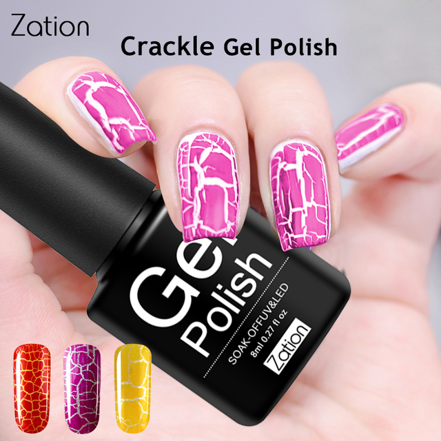 Zation Crack Nail Gel Varnish Polish UV LED Gel Colorful Crackle UV ...