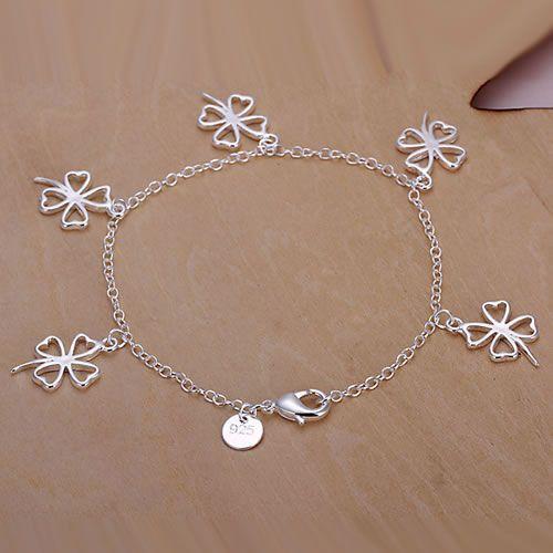 H185 925  silver bracelet, 925  silver fashion jewelry Hollow Four-leaf Clover Bracelet /aylajpsa auzajmga