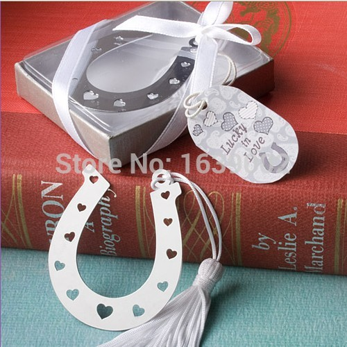 50pcs Lucky in Love Collection Horseshoe Bookmark Wedding Souvenir Party Favor Gifts Supplies For Guests Free