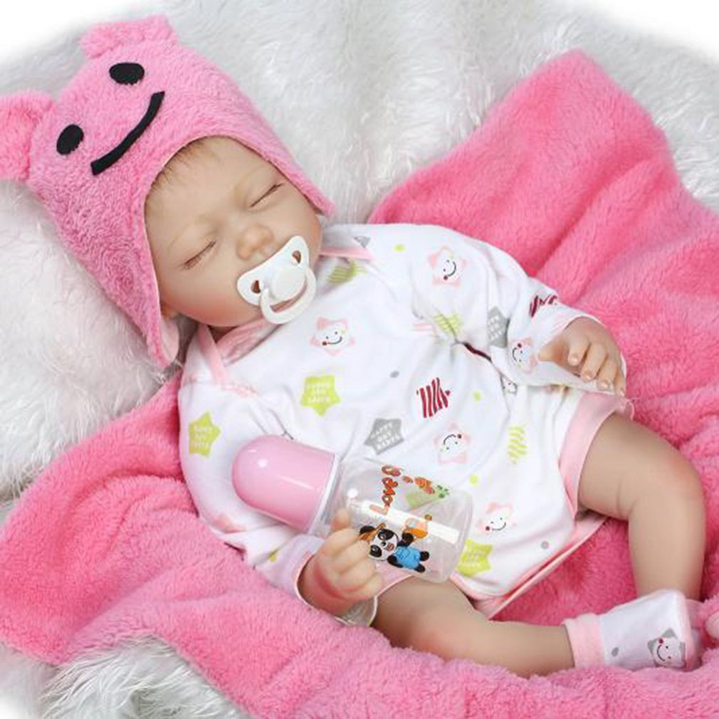 Doll 55cm Soft Silicone Reborn Baby Doll Non-toxic Safe Toys Children Play Toys Lovely Lifelike Playmate Gift Baby Doll New lovely simulation reborn baby doll kids sleeping playmate accompany silicone toys lifelike children high quality toys gift
