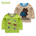 SLAIXIU Primavera & Outono Algodão Crianças Roupas Miúdo T-shirt Para O Menino Dos Desenhos Animados Manga Longa Crianças Meninos T-shirt Roupas Tops T-shirt