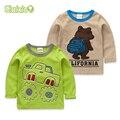SLAIXIU Primavera y Otoño Algodón de Los Niños Ropa Del Cabrito Camisetas Para Chico de Dibujos Animados de Manga Larga Camisetas de Los Niños de Ropa Tops T-shirt