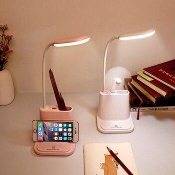 0-100% Touch Dimmable Lampu LED Meja Usb Isi Ulang Penyesuaian untuk Anak-anak Anak-anak Membaca Belajar Samping Tempat Tidur Kamar Tidur Ruang Tamu