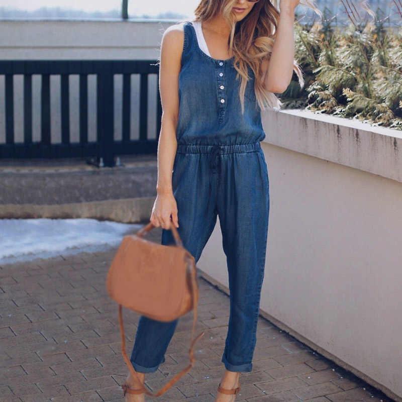 Летний женский комбинезон без рукавов джинсовые повседневные свободные брюки комбинезон