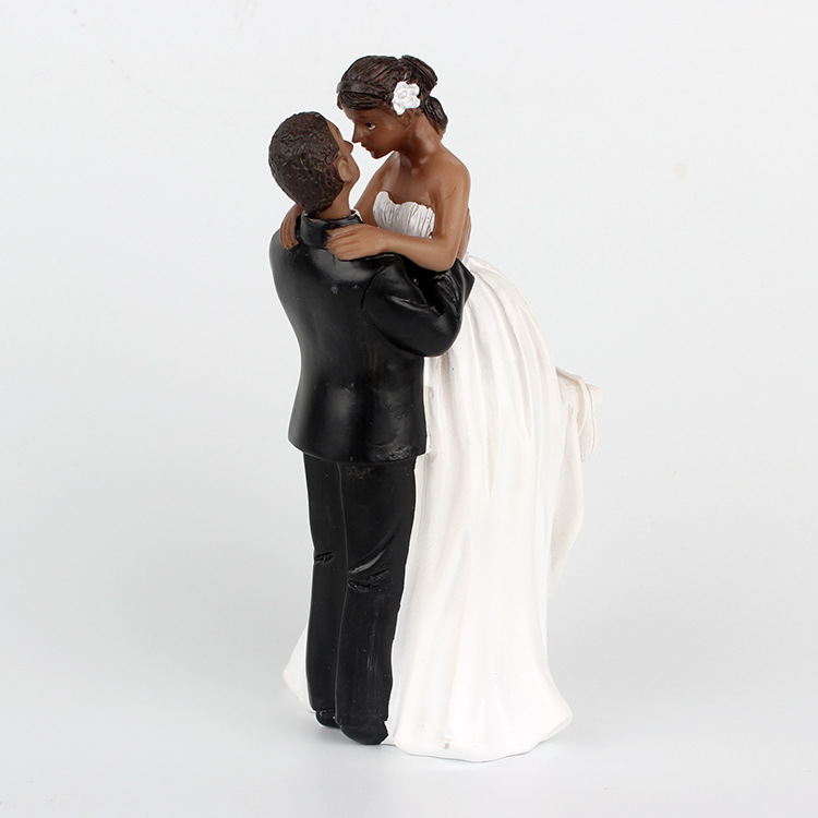 Nouveau Marié Tenant Mariée G¢teau Topper Figurine Noir Peau Couple