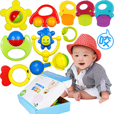 10pcs baby rattle toy ABS safety materials can bite 0-3 year old female newborn baby boy infant teether handbell