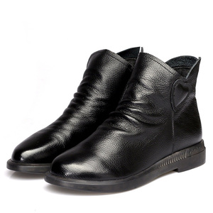 Image 3 - DRKANOL בריטי סגנון אמיתי פרה עור נשים קרסול מגפי סתיו אופנה קפלים צד רוכסן קצר מגפי נשים דירות נעליים