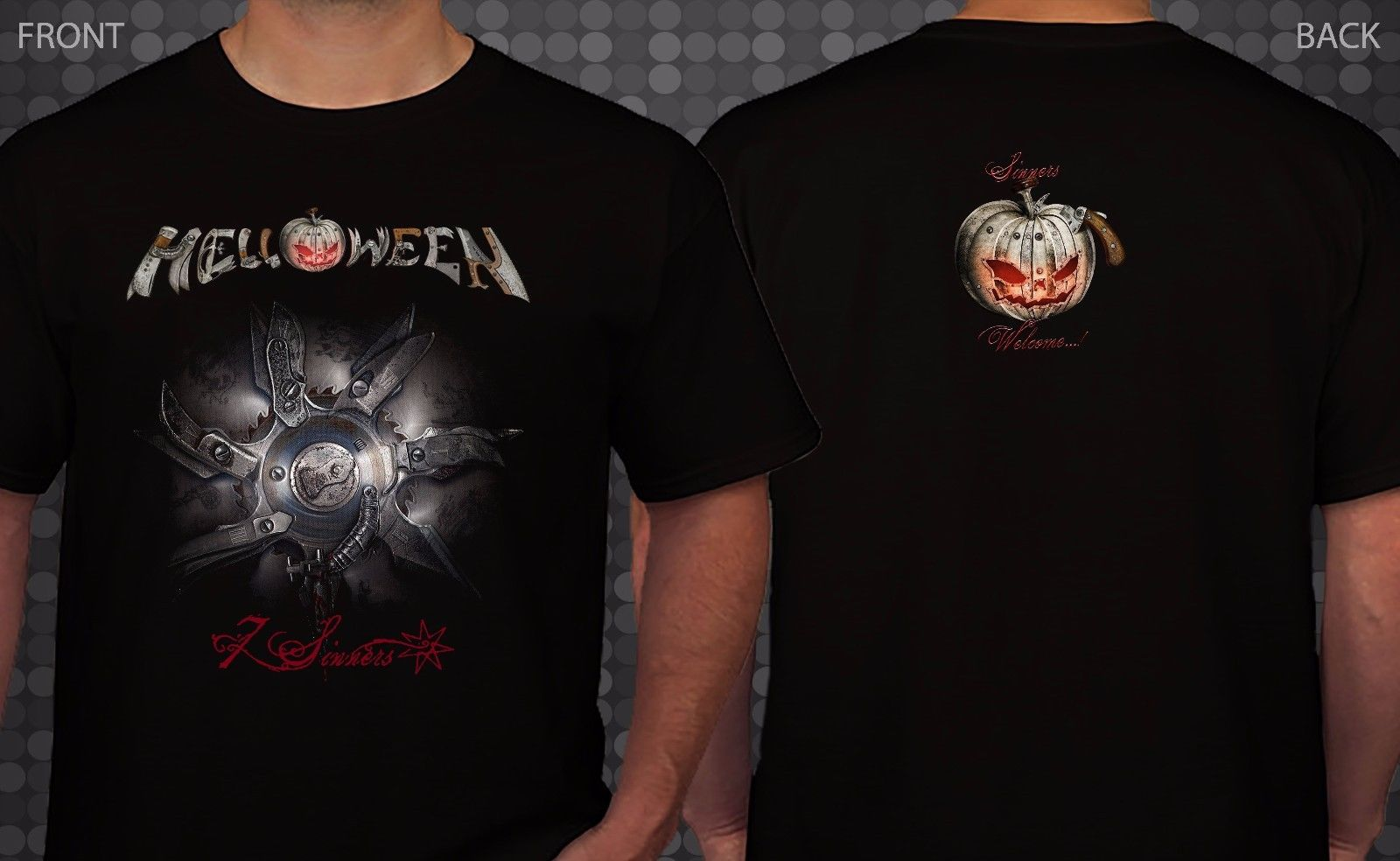 HELLOWEEN 7 Sinners German Heavy Metal Band T shirt SIZES S To 3XL New Design Cotton Male T Shirt Designing Top Tee in T Shirts from Men 39 s Clothing