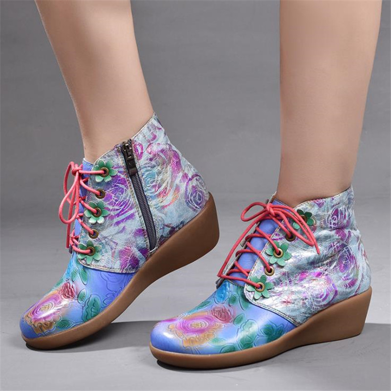Leather Women 39 s boots wedge heel boots invisible high heels spring and autumn pattern handmade vintage women 39 s boots in Ankle Boots from Shoes