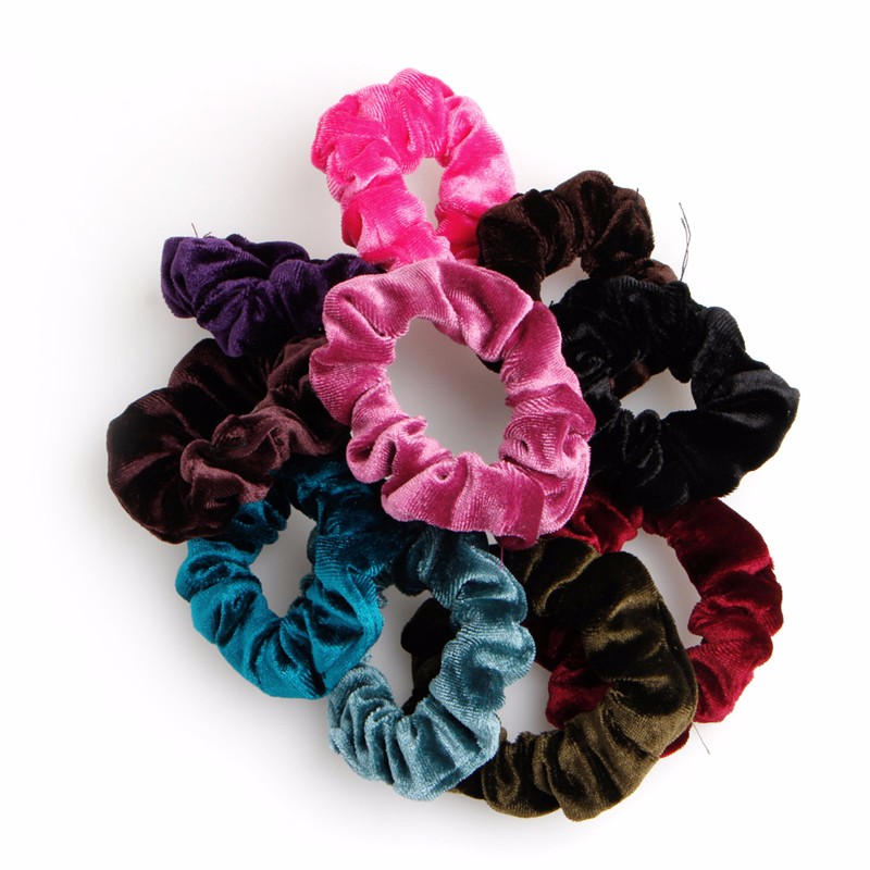 10pcs Velvet Hair Band Elastic Ponytail Tie Bow Rubber Bobbles for women girl gorgeous faux feather elastic hair band for women