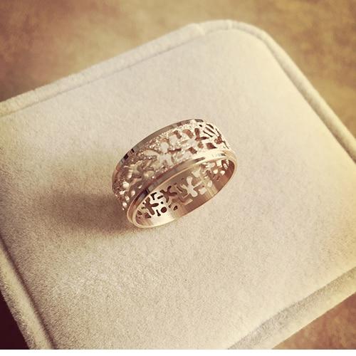 2019 젖빛 링 화려한 중공 독특한 디자인 로즈 골드 컬러 스테인레스 스틸 반지 bague 팜므 anillos ringen 선물