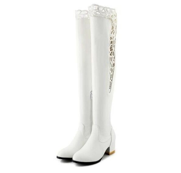 Sur genou Hauteur black À Automne Femmes Chaussures Gladiateur White Chaussons Mujer Dentelle Talons Femme Jb0053 Bottes Chaussure Du Genou Dames Zapatos Haute wvN8ymn0O