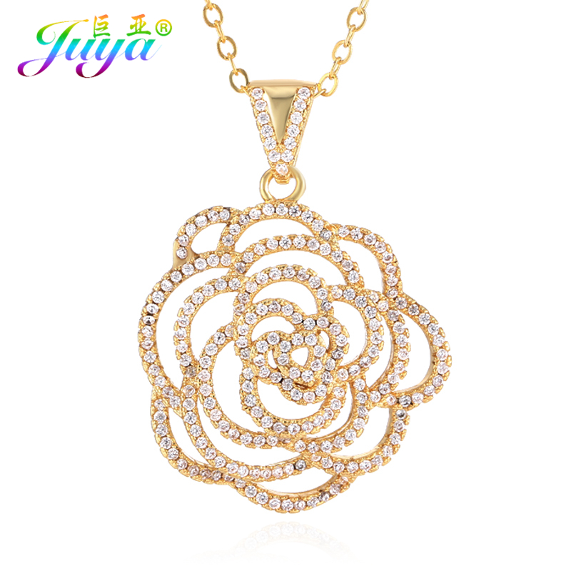 Fashion Micro Pave Cubic Zirconia Rose Flower Pendant Jewelry Silver Plated Chain Charm Necklace For Women Craft Accessories