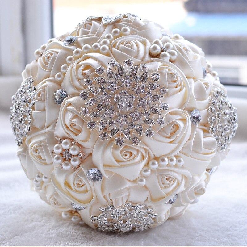 Doragrace 20CM Luxury Silk Rose Wedding Flowers Crystal Brooch Bridal Holding Tassel Full Diamond Stitch Bouquet