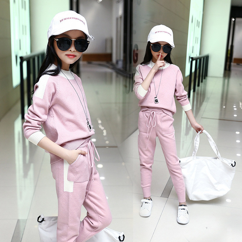 Autumn Children Sweater Sets For Girls 2 Piece Set Girl Sport Costums Outfit Knitted Suits 4 6 8 10 12 children sets girls winter sweater coat