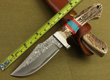 New Arrival!!!Damascus Steel Antler Handle Handmade Hunting Knife Camping knife hunting tactical straight knife EDC Tools