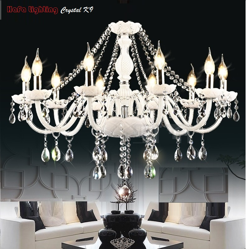 Image 4 - Modern White Crystal Chandelier Lights Lamp Chandeliers For bedroom Living room Fixture Crystal Light Lustres de crista lighting-in Chandeliers from Lights & Lighting