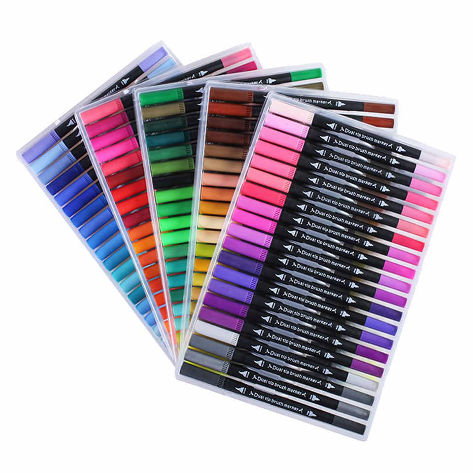 Juego de marcadores y plumas para pintar letras caligrafía pincel para colorear niños suministros para estudiantes profesional doble punta cabeza arte pincel