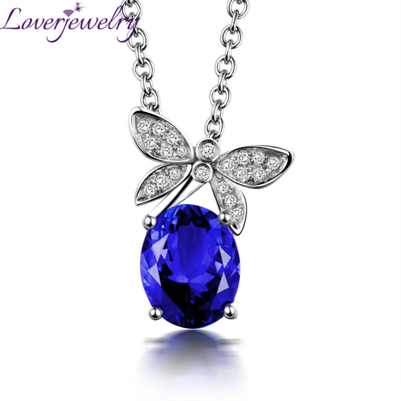 Fine Jewelry Real 18K White Gold Natural Tanzanite Pendant Necklace Oval 8x10mm Diamond Jewelry for Mom Gift WP055 yoursfs heart necklace for mother s day with round austria crystal gift 18k white gold plated