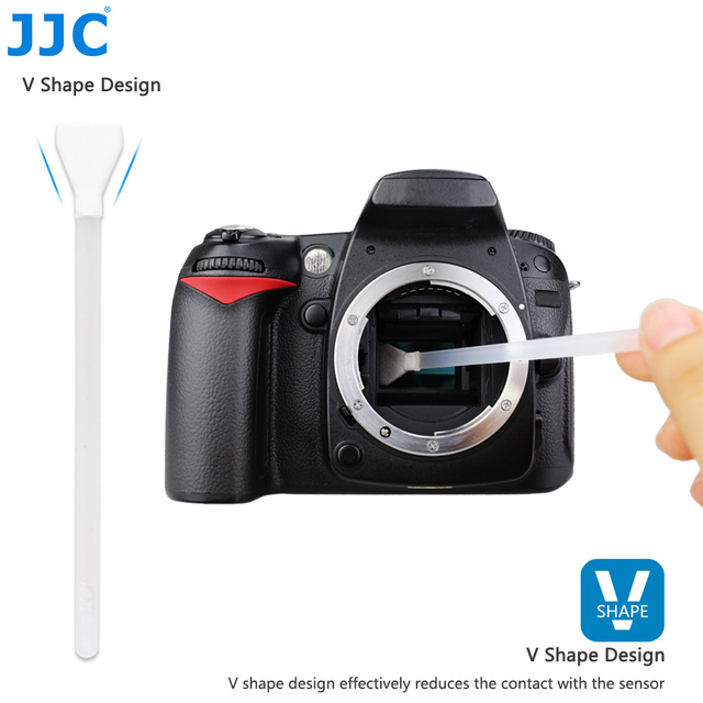JJC 16mm Width APS-C Frame Sensor Camera Cleaner CCD CMOS Clean Tool V Shape Cleaning Swab Kit for Canon/Nikon/Sony/Olympus