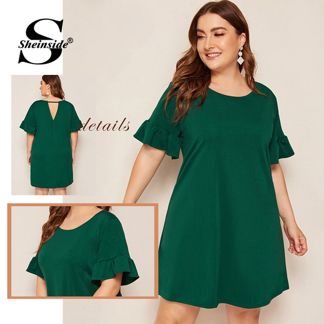 Sheinside Plus Size Green Casual Straight Dress Women 2019 Summer Short Sleeve Mini Dresses Ladies Solid Back V-Cut Dress 4