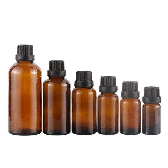 5 100ML Großen Kopf Bernstein Braun Glas Drop Flasche Aromatherapie Flüssigkeit für ätherisches grundlegende massage öl Pipette Flaschen nachfüllbar