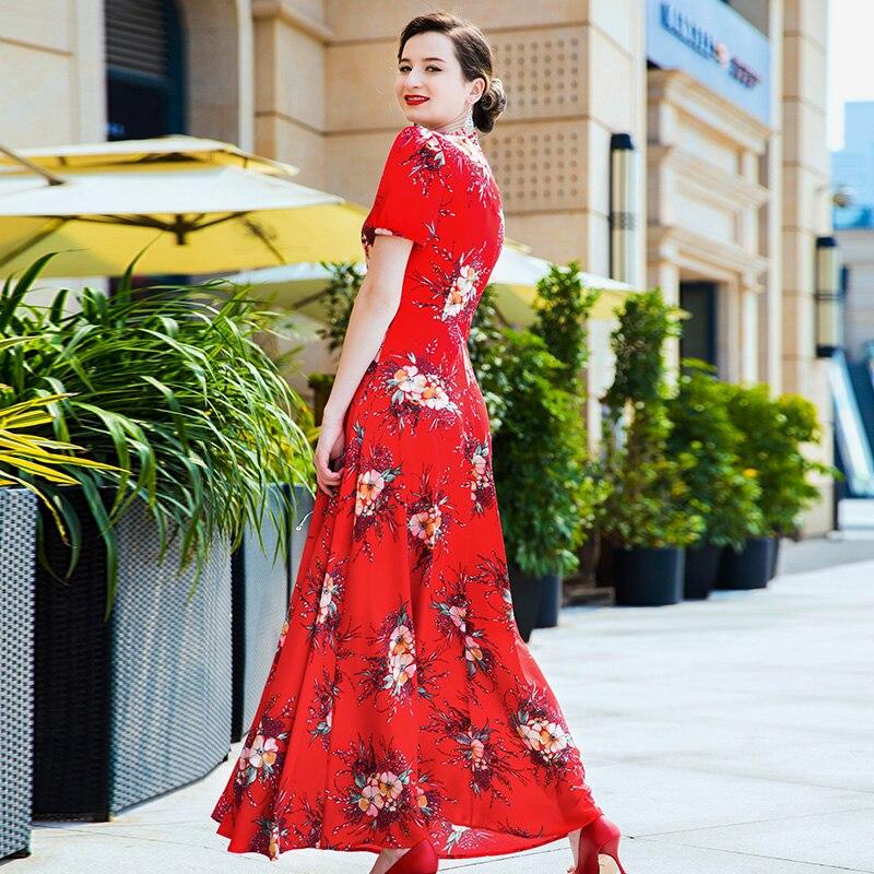Fête d'été longue robe rouge imprimé Floral Boho plage robe tunique femmes soirée Club robe d'été Vestidos De Festa XXXL6808 - 3