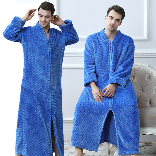 Men Plus Size Thickening Warm Extra Long Winter Bathrobe Male ...