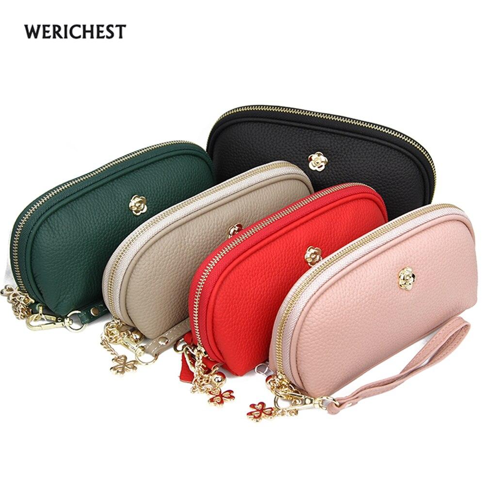 Mode luxe marque femmes portefeuilles en cuir véritable femme porte-monnaie portefeuille femmes 6 couleurs porte-carte bracelet sac d'argent