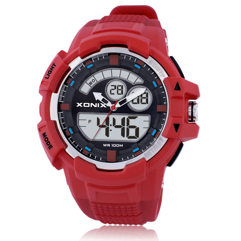 Precise New Outdoor LED Luminous Digital Multifunction ANA Display Electronic Watches Men Waterproof MW
