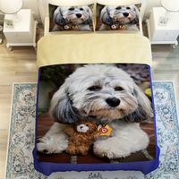3D Oil Cut Dog Bedclothes,3/4pc duvet cover without filler,100% Polyester Twin Queen King Fashion Kids Dog Bedding Sets